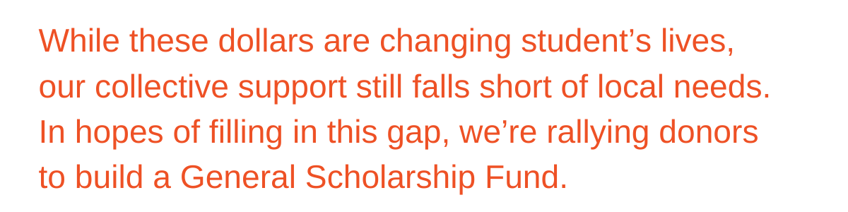 While these dollars are changing student's lives, our collective support still falls short of local needs.